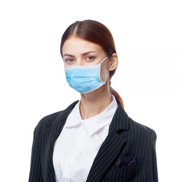 person modeling face mask