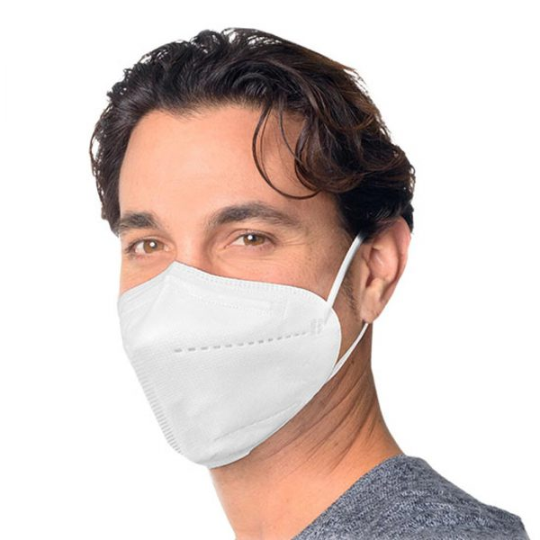 person modeling white face mask